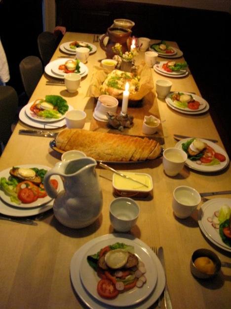 デンマークワーキングホリデー中に滞在した陶芸スタジオでの食事