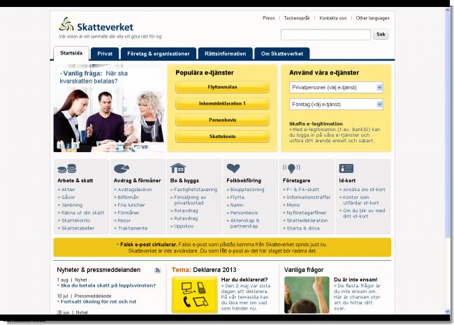 写真:Startsida   Skatteverket
